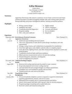 apprentice electrician - Electrician Resume Sample