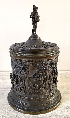 French Antique Bronzed Tobacco Jar with a Detailed Relief Frieze – by A B Paris #ABParis