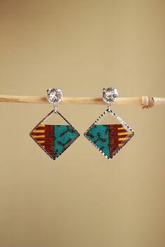 しかくアフリカ布ピアス/african print square earrings (9)