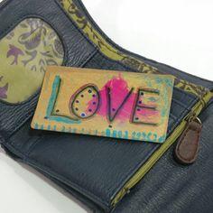 Love, Tiny Art Card, Girlfriend Gift Idea, Gift Idea for Wife, Unique Desk Accessory, Shelf Accessory, Wallet Insert Card, Cubicle Accessory