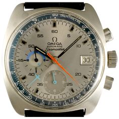 Cal. 1040 with large center chronograph seconds and minutes hands. 12 hour counter at 6 o'clock, continues small seconds hand, 24-hour indicator at 9 o'clock and date. The cal. 1040 is the first Omega automatic Chronograph caliber. It was developed by Raoul-Henri Erad and produced by Lemania; it is worth mentioning that its rotor is mounted in a ball-bearings. Although an early automatic chronograph, the caliber 1040 was not the first automatic chronograph in the world: it was preceded by…