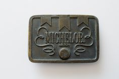 Vintage Brass Michelob Belt Buckle - Michelob Beer Vintage Fashion Accessory by Suite22 on Etsy