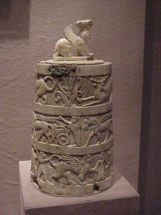 Ivory Pyxis with Sphinx Finial Etruscan 650-625 BCE Cerveteri Italy by mharrsch, via Flickr