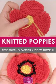 We are going to Knit a Poppy Flower! A fun quick-knit, flowers can be used as accessory embellishments on headbands, hats, pretty much anything you want to make cute. patterns free hats videos Knit a Poppy Flower Pattern with Video Tutorial Crochet Flower Tutorial, Crochet Flower Patterns, Crochet Patterns For Beginners, Knitting For Beginners, Knitting Patterns Free, Free Knitting, Pattern Flower, Knitted Poppies, Knitted Flowers