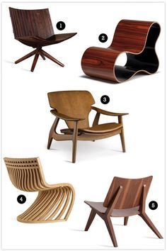 1 – Poltrona Radar (Carlos Motta)/ 2 – Poltrona Oscar (Porfírio Valadares)/ 3 – Poltrona Diz (Sérgio Rodrigues)/ 4 – Poltrona Pantosh (Lattoog)/ 5 – Poltrona Five (Jader Almeida). Furniture Decor, Modern Furniture, Furniture Design, Poltrona Design, Grey And Yellow Living Room, Muebles Art Deco, Cool Chairs, Furniture Inspiration, Wood Design