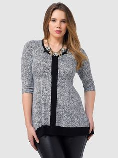 Plus Size Fashion from Gwynnie Bee by Karen Kane Grey and Black 3/4 Sleeve Contrast Handkerchief Top