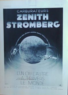 Original Vintage French Ad  Zenith Stromberg Carborator Machines 1935 by reveriefrance on Etsy