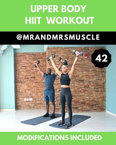 Upper Body HIIT with Modifications Pin and Share this challenging High Intensity Upper Body session Upper Body Hiit Workouts, Hiit Workout Videos, Full Body Dumbbell Workout, Hitt Workout, Gym Workout Tips, Fitness Workout For Women, Workout Challenge, Fitness Facts, Muscular