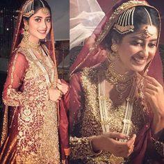 Sajal Ali Oozes Elegance Dolled up in this #ZoniaAnwaar Bridal on set of her Drama #SajalAli #Gorgeous #Elegant #Bridal #Accessories #AsianBridalWear #PakistaniCouture #PakistaniFashion #PakistaniActresses ✨