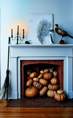 Drilling makes quick work of pumpkin-carving. And when piled atop one another, they seemingly pour out from the fireplace of a witch's house.