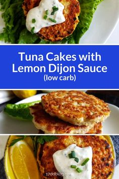 There's not a better combo of low carb + tuna cakes! Yes, this Tuna Cakes with Lemon Dijon Sauce is perfect for a Keto lifestyle! Lose weight while you eat YUMMY food! Pin now for printable recipe! Healthy Tuna Recipes, Tuna Fish Recipes, Canned Tuna Recipes, Easy Chicken Recipes, Seafood Recipes, Low Carb Recipes, Healthy Eating, Cooking Recipes, Seafood Pasta