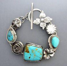 Turquoise Flower Bracelet 2-RESERVED for V by Temi on Etsy