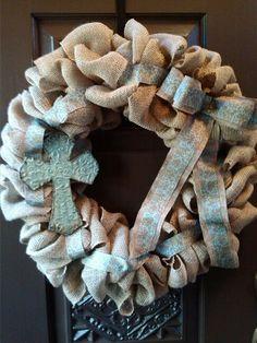 Cross burlap wreath