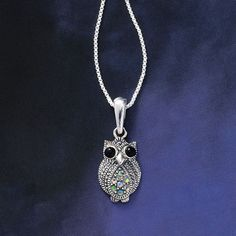 Opal and Onyx Owl Pendant - New Age & Spiritual Gifts at Pyramid Collection