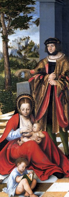 Cranach-Triptych with the Holy Kinship (left wing)  1509  Oil on panel, 121 x 45 cm  Städelsches Kunstinstitut, Frankfurt
