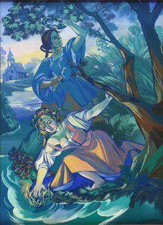 "lamus-dworski:Zofia Stryjeńska [Polish, 1891-1976]: ""Wianki"" [Slavic summer solstice celebrations], oil on board, between 1919-1939 [source]."