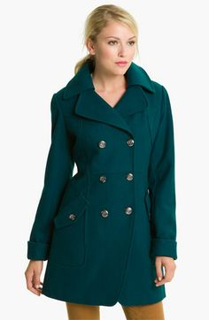 GUESS Double Breasted Wool Blend Coat | Nordstrom