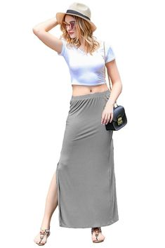 Zeagoo Women's Cotton Maxi Skirt Elastic Waist Soft Skirt With Right Slit - best woman's fashion products designed to provide Cotton Maxi Skirts, Women's Skirts, Jackets For Women, Clothes For Women, Casual Skirts, Elastic Waist, High Waisted Skirt, Womens Fashion, Outfits