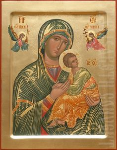 This waist-long painted icon of the Mother of God of the Passion is decorated with chiseling on gesso. It is consecrated in St Elisabeth Convent after having been painted Queen Of Heaven, Byzantine Icons, Painting Studio, Madonna And Child, Religious Icons, Orthodox Icons, My Prayer, Mother Mary, Gods And Goddesses