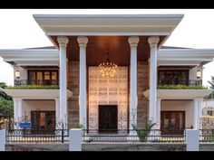 House in Mangalore House Balcony Design, House Outside Design, Village House Design, Bungalow House Design, House Front Design, Classic House Exterior, Classic House Design, Modern Exterior House Designs, Modern Architecture House