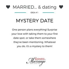 Who says just because you're married, you can stop dating? Dating your spouse is STILL important! Welcome to the #MarriedandDating series, brought to you to help you spice up your monogamous date nights. Date Number 1: Mystery Date. Plan everything and surprise your love with the entire night's activities.