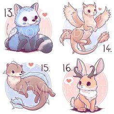 Animal Drawings Mythical Animal Fusion Sticker and/or Prints - Cute Kawaii Animals, Cute Animal Drawings Kawaii, Kawaii Art, Cute Drawings, Horse Drawings, Kawaii Anime, Cute Fantasy Creatures, Mythical Creatures Art, Cute Creatures