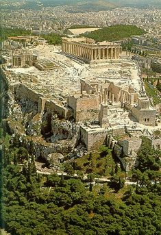 The Acropolis of Athens from NW Ancient Greek Architecture, Beautiful Architecture, Gothic Architecture, Ancient Ruins, Ancient Greece, Mayan Ruins, Places Around The World, Around The Worlds, Athens Greece