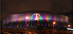 Superdome in New Orleans, Home of the Saints... in Mardi Gras color!