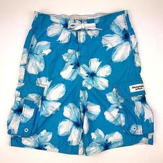 Abercrombie & Fitch mens XL blue white floral print swim trunks board shorts #AbercrombieFitch #BoardShorts