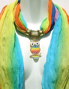 Pendant Scarf Jewelry Rainbow Ombre  Baby by RavensNestScarfJewel, $24.00