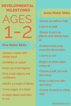 Developmetnal Milestones ages 1-2.  A chart for reference from pediatric physical and occupational therapists at www.theinspiredtr...
