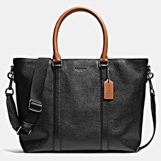 89a764af04543 Metropolitan Tote in Contrast Pebble Leather メンズレザー
