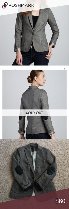 """Maison Scotch Herringbone Blazer Sz Medium Herringbone Blazer with stripe and star printed lining. Labeled a size 2, which is comparable to a medium. Has front pockets and a chest pocket. Notched collar, button front, and a charm at the pocket. Also has black faux leather elbow patches. Wool/polyester with polyester lining. Length is 24"""". Armpit to armpit measures 18"""" across. Good condition. No trades or PayPal. Maison Scotch Jackets & Coats Blazers"""