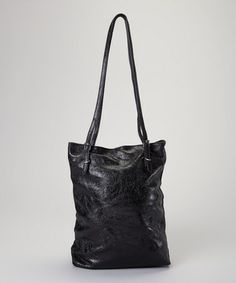 Another great find on #zulily! Black Metallic Leather Tote #zulilyfinds
