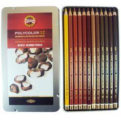 Lápis de Cor Polycolor 12 cores Tons de Marrom Koh-I-Noor. Ideal para criar paisagens e esboços. www.sionart.com.br R$ 100,52 (20/04/2015)