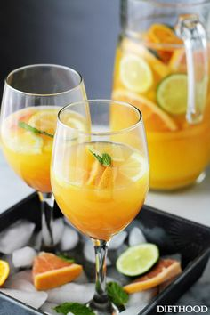 Big-batch mimosa pitchers for boozy brunch