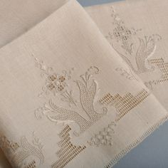 Beautiful Pair Vintage Linen Tea Towels - Perfect Handwork - NOS