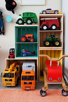 DIY Toy Storage Shelves Learn some fun storage ideas and DIY's to make your boys room decor functional and fun Toy Storage Shelves, Large Toy Storage, Toy Car Storage, Playroom Organization, Kids Storage, Storage Ideas, Storage Solutions, Organization Ideas, Truck Storage