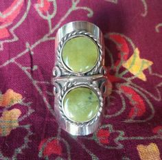 Green Jade Two Stone Ring - Tribal Gypsy Boho Bellydance - Silver Plated - OS  #Statement