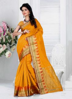 Vogue and pattern will be on the peak of your magnificence as soon as you attire this mustard cotton   casual saree. The ethnic patch border work to your clothing adds a sign of magnificence statement with your look. Comes with matching blouse.