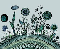 The earth and her flowers in sky blue and mint greens. Black And White Illustration, Green Print, Doodle Art, Art Lessons, Art Sketches, Illustrators, How To Draw Hands, Doodles, Sky