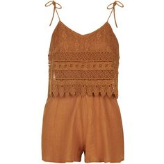 TopShop Crochet Layer Romper ($58) ❤ liked on Polyvore featuring jumpsuits, rompers, dresses, jumper, romper, rust, playsuit romper, brown jersey, topshop romper and topshop