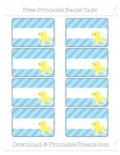 Free Baby Blue Diagonal Striped Baby Duck Name Tags
