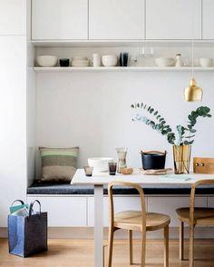 39 Finest Scandinavian Dining Room Design Ideas With Swedish Style Scandinavian Shelves, Scandinavian Kitchen, Banquette Design, Dining Room Design, Bedroom Furniture Design, Living Room Furniture, Furniture Sets, Furniture Nyc, Cheap Furniture