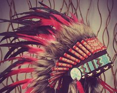 X11 Red and Black Feather Headdress / Warbonnet by theworldoffeathers. Explore more products on http://theworldoffeathers.etsy.com