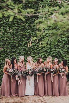 dusty pink mismatched bridesmaid dresses / http://www.himisspuff.com/bridesmaid-dress-ideas/4/