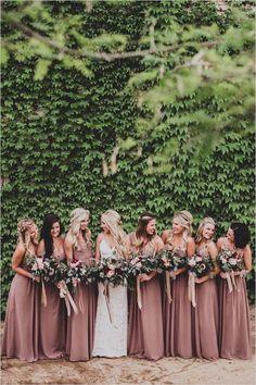 dusty pink mismatched bridesmaid dresses / http://www.himisspuff.com/bridesmaid-dress-ideas/4/