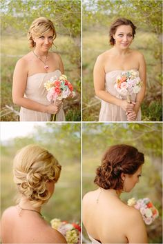 Bridesmaid hair for A. I like the one on the right.