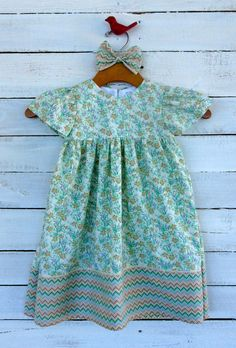 Girl's Up-Cycled Dress Size 3T Floral/Chevron Flowers