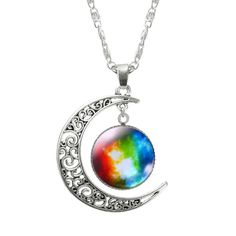 Lovely necklace with galaxy moon pendant